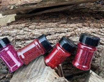 Roja - Red Bundle of Metallic and Holographic Glitter - Fine Size, Hexagon Shape- Cardinal, Liberty, Candy Apple, Lena