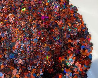 Jack Orange and Black Glitter Holographic Chunky Flakes Fine Mix