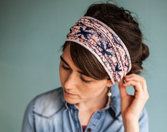 Navy Lacework Stretch Headwrap || Garlands of Grace headband headcovering hair wrap