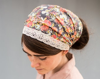 Virginia Floral Headwrap | Garlands of Grace convertible Lace Trimmed hair wrap Headband headcovering hair wrap