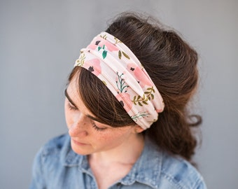 BLUSH FLORAL Anywhere STRETCH HeadWrap Garlands of Grace | Headband Hair wrap headcovering