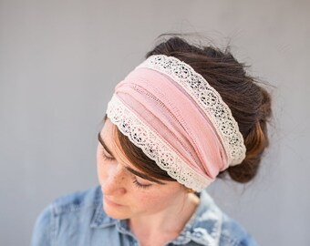 Vintage Pink Hair Wrap Headwrap | Garlands of Grace convertible Lace Trimmed Headband headcovering hair wrap