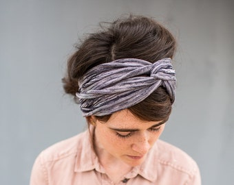 Chambray Blue Twist stretch headband -  Garlands of Grace hair head band headwrap Headcovering