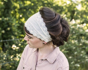 Summer Eyelet Headband || Garlands of Grace convertible headwrap Headcovering head hairwrap covering