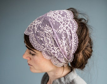 Lavender and Cream Lace Stretch Headband | Garlands of Grace Headwrap Headcovering hair wrap