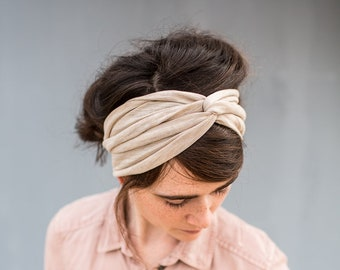 Twist stretch headband in Biege-  Garlands of Grace hair head band headwrap