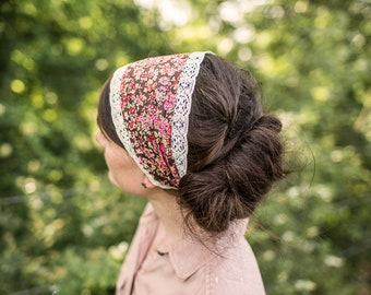 Rustic Lace in Liberty of London Floral Headband | Garlands of Grace headwrap Headcovering head hairwrap covering
