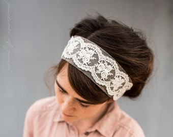 Linen and Lace Headband Headwrap || Garlands of Grace STRETCH headband headcovering hair wrap