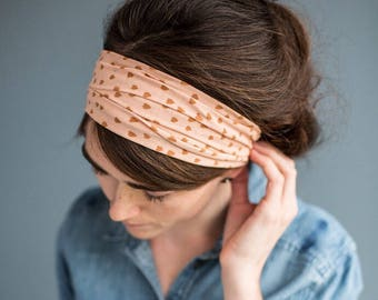 rose GOLD STRETCH Headwrap || Garlands of Grace Convertibel headband headcovering hair wrap
