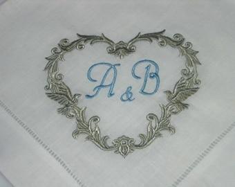 Linen Hemstitched Napkins perfect for wedding or anniversary. Heart design napkins, wedding gift, lovebird napkins, keepsake gift