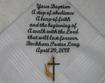 Baptism Handkerchief with Methodist Cross. Personalized Baptism Handkerchief,214