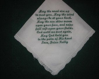 Personalised Wedding Gift Irish blessing handkerchief 153S with gift box and includes shipping in the US