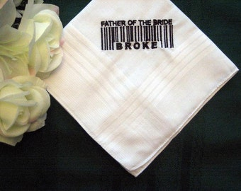 Embroidered Father of the Bride Handkerchief – Father of the Bride Gift – Groomsmen Handkerchief – Personalized Hankie 140B