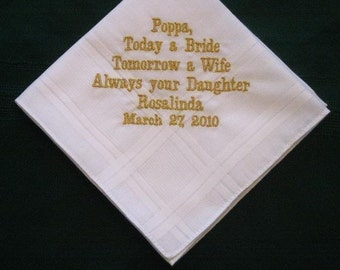 Papa with gold thread with Gift Box 63B Personalized Wedding Handkerchief