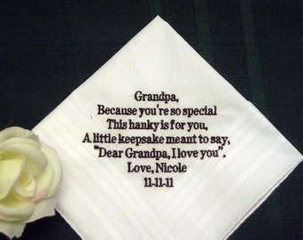 From Bride or Groom to Grandfather 108B Personalized Wedding Handkerchief