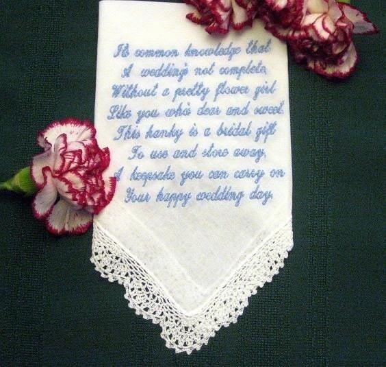 Best Wedding Gift For Girl: Personalized Wedding Gift Wedding Handkerchief For Flower