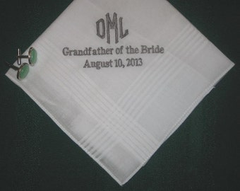 Any Men in your Family or Wedding Party 150B includes gift box and shipping in the US Personalized Wedding Handkerchief