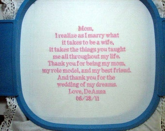 Mother of the Bride Embroidered Gift, Mother of the Bride Handkerchief, Wedding Handkerchief, Personalized Hankie 113B