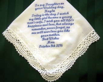 Bridal Handkerchief from Mother to Daughter, Something blue, wedding hankie,wedding gift 207S