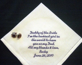 Wedding Father Handkerchief - Father of Bride Handkerchief - Linen Handkerchief - Father of the Bride Gift - 103S