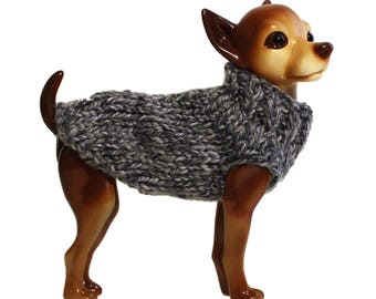 Hand Knit Dog Sweater- Marbled Grey