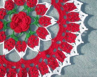 handmade thread crochet doily in red, white, and green -- 1721
