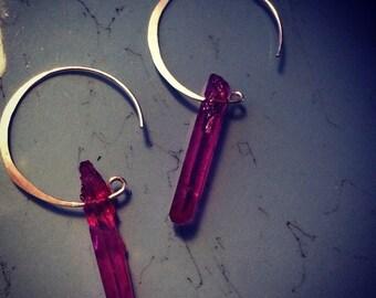 Fuchsia Modern Hammered Raw Quartz Crystal Points Sterling Silver Earrings - Medium Points