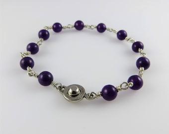 Smooth, Round Amethyst Bead Bracelet, 7.5 in. - Art Wire