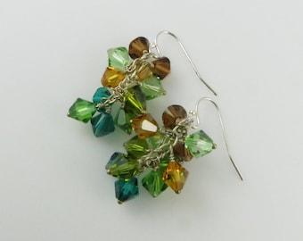 Autumn Forest Earrings - Swarovski Cystal, Sterling Silver