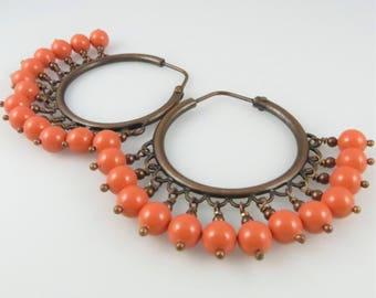 Moroccan Nights - Swarovski Pearls, Copper Hoops