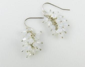 White Opal Earrings - Swarovski Cystal, Sterling Silver