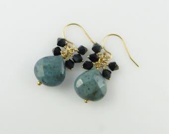 Agate & Black Crystal Earrings - Gold-Filled, Swarovski Crystals