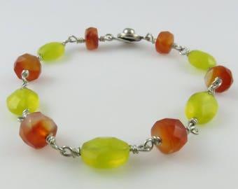 Carnelian & Yellow Quartz Bracelet, 7.5 in. - Art Wire