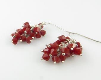 Candy Apple Earrings - Swarovski Cystal, Sterling Silver