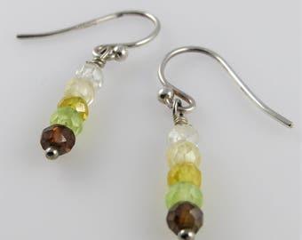 Green, Yellow Stick Earrings - Cubic Zirconia, Sterling Silver