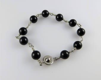 Smooth, Round Black Swarovski Pearl Bead Bracelet, 7.25 in. - Art Wire