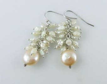 Coin & Rice Pearl Earrings - Sterling Silver, Pearls