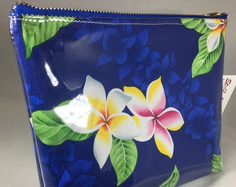 Make Up Bag - Hawaiian Plumeria Flower Aloha Print Zipper Pouch