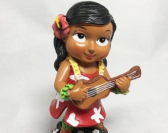 Mini Dashboard Hula Girl Keiki with Ukulele Doll