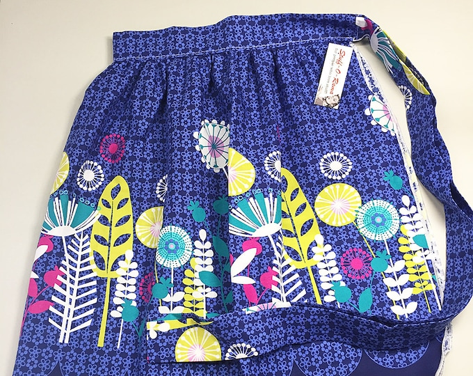 Scandinavian Mod Flowers - Half Apron - Vintage Pin Up Skirt Style