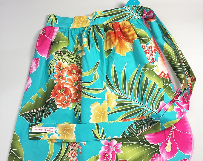 Half Apron - Vintage Pin Up Skirt Style - Blue Hawaiian