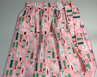 Half Apron - Vintage Pin Up Skirt Style - Christmas Holiday Cocktails Pink