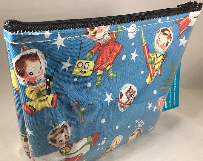 Make Up Bag - Retro Space Kids Zipper Pouch