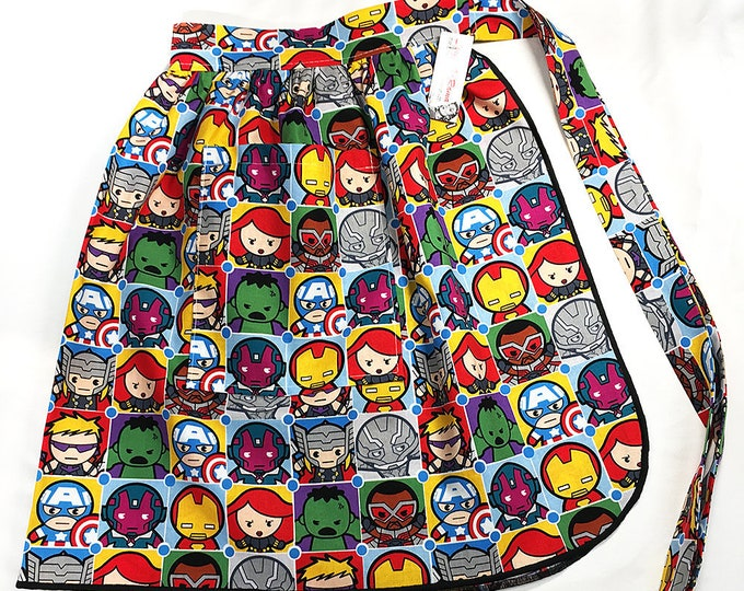 Half Apron - Vintage Pin Up Skirt Style - Avengers Icons kawaii cute marvel Disney black panther thor hulk one size plus size curvy