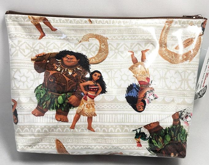 Make Up Bag - Moana and Maui Beige Zipper Pouch