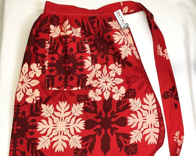 Half Apron - Vintage Pin Up Skirt Style - Red Hawaiian Quilt Style