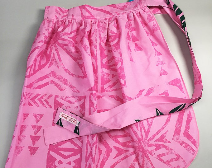 Half Apron - Vintage Pin Up Skirt Style - Pink Tapa Cloth