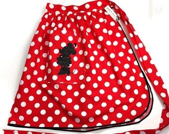 Half Apron - Vintage Pin Up Skirt Style - Minnie & Mickey Mouse
