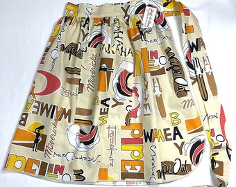 Retro 70s Surfs Up - Half Apron - Vintage Pin Up Skirt Style
