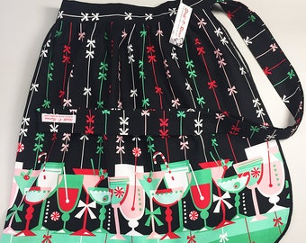 Half Apron - Vintage Pin Up Skirt Style - Christmas Holiday Cocktails